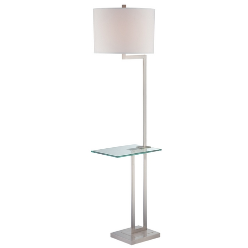 Lite Source Lighting Gallery Tray Floor Lamp with Drum Shade LS-81746PS/WHT