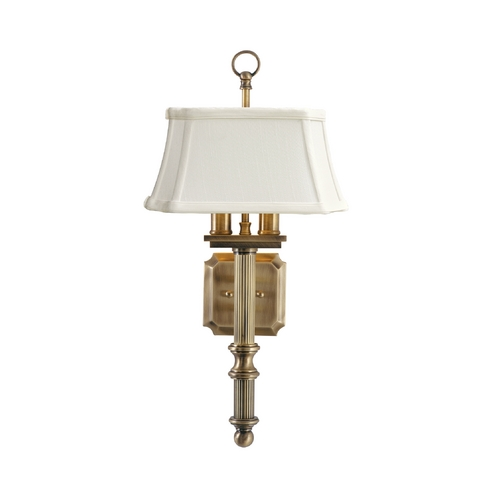 House of Troy Lighting Traditional Sconce with White Shade in Antique Brass Finish WL616-AB