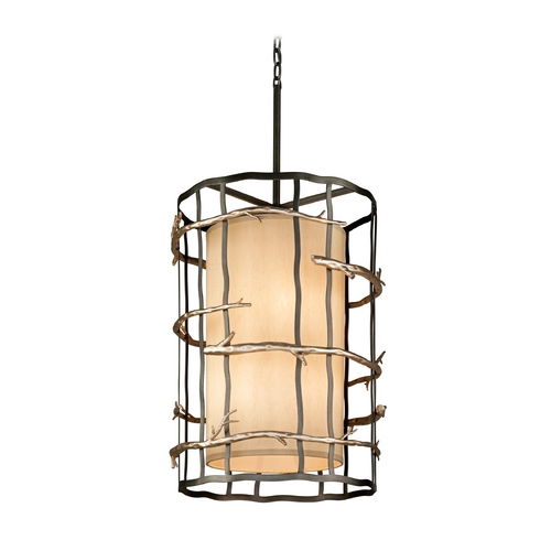 Troy Lighting Pendant Light with Beige / Cream Shades in Graphite and Silver Finish F2885