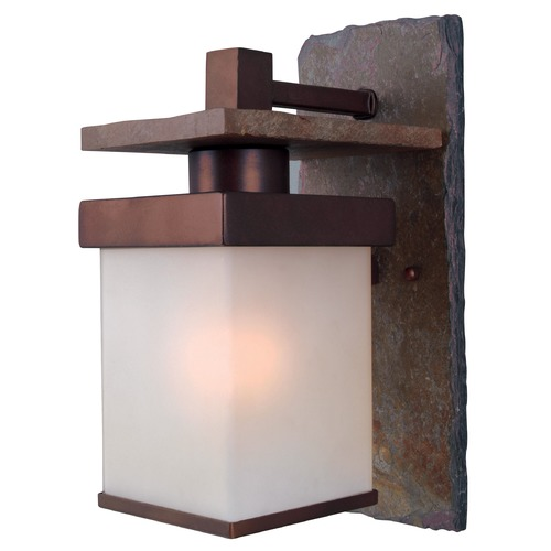 Kenroy Home Lighting Outdoor Wall Light with Frosted Glass in Natural Slate with Copper Finish 70283COP