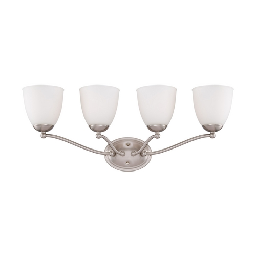 Nuvo Lighting Bathroom Light with White Glass in Brushed Nickel Finish 60/5034