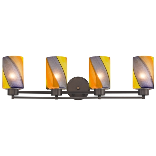 Design Classics Lighting Modern Bathroom Wall Light with Cylinder Glass - Four Lights 704-220 GL1015C