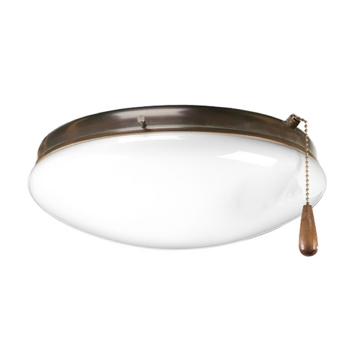 Progress Lighting Progress Light Kit with White Glass in Antique Bronze Finish P2602-20