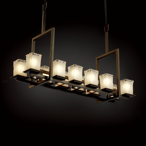 Justice Design Group Justice Design Group Veneto Luce Collection Dark Bronze Island Light with Rectangle Shade GLA-8619-26-WTFR-DBRZ