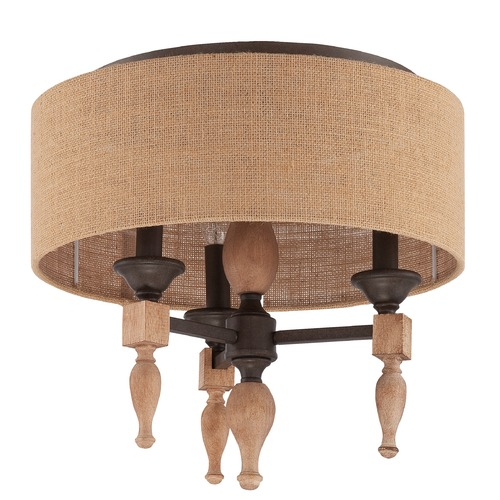 Jeremiah Lighting Jeremiah Lighting Glenwood Aged Bronze/distressed Oak Flushmount Light 38183-JBZDO