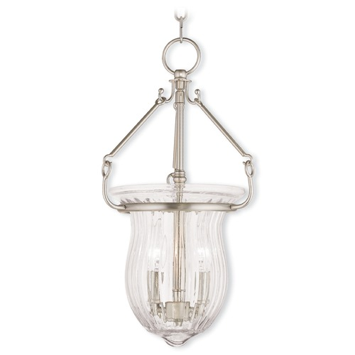 Livex Lighting Livex Lighting Andover Brushed Nickel Mini-Pendant Light with Fluted Shade 50942-91