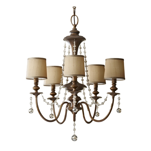 Feiss Lighting Crystal Chandelier with Brown Shades in Firenze Gold Finish F2724/5FG