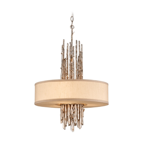 Troy Lighting Drum Pendant Light with Beige / Cream Shade in Silver Leaf Finish F2894