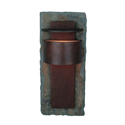 Kenroy Home Lighting Modern Outdoor Wall Light in Natural Slate with Copper Finish 70285SL