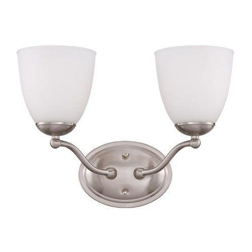 Nuvo Lighting Bathroom Light with White Glass in Brushed Nickel Finish 60/5052