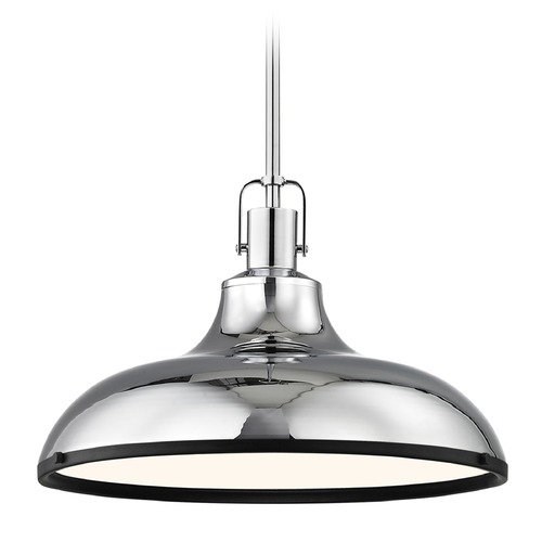 Design Classics Lighting Chrome Pendant Light with Black Accents 15.63-Inch Wide 1762-26 SH1777-26 R1777-07