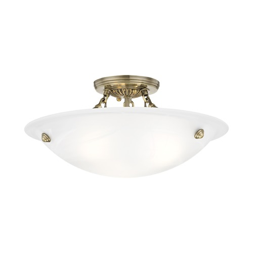 Livex Lighting Livex Lighting Oasis Antique Brass Semi-Flushmount Light 4273-01