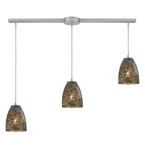 Elk Lighting Elk Lighting Fissure Satin Nickel Multi-Light Pendant with Bowl / Dome Shade 10465/3L-BRF