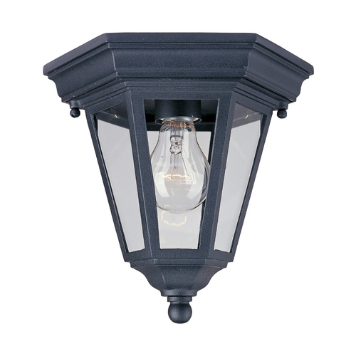 Maxim Lighting Close To Ceiling Light with Clear Glass in Black Finish 1027BK