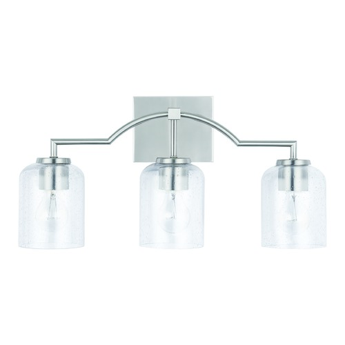 HomePlace by Capital Lighting HomePlace Carter Brushed Nickel 3-Light Bathroom Light with Clear Seeded Glass 139331BN-500