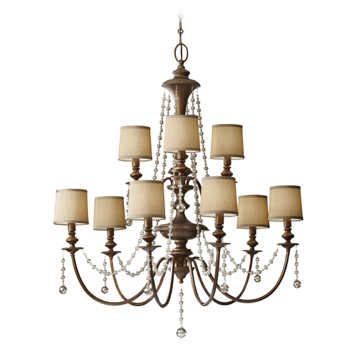 Feiss Lighting Crystal Chandelier with Brown Shades in Firenze Gold Finish F2725/6+3FG