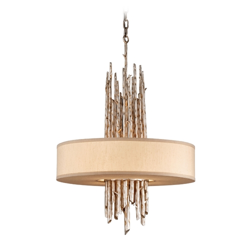 Troy Lighting Drum Pendant Light with Beige / Cream Shade in Silver Leaf Finish F2895