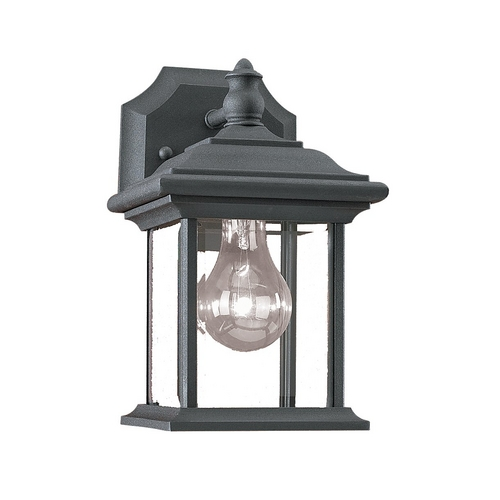 Sea Gull Lighting Outdoor Wall Light with Clear Glass in Black Finish 85200-12