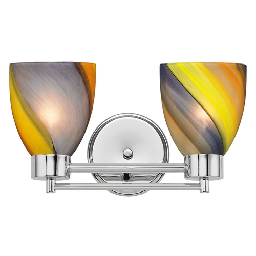 Design Classics Lighting Modern Bathroom Light with Art Glass in Chrome Finish 702-26 GL1015MB