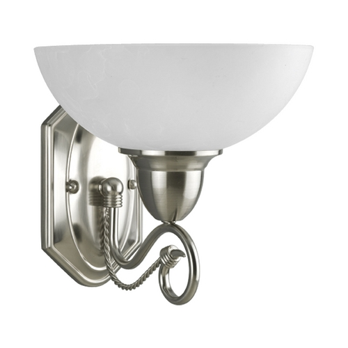 Progress Lighting Progress Sconce Wall Light with White Glass in Brushed Nickel Finish P3265-09