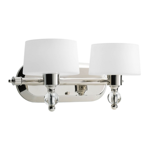 Progress Lighting Progress Modern Polished Nickel Bathroom Light with White Glass P2920-104WB