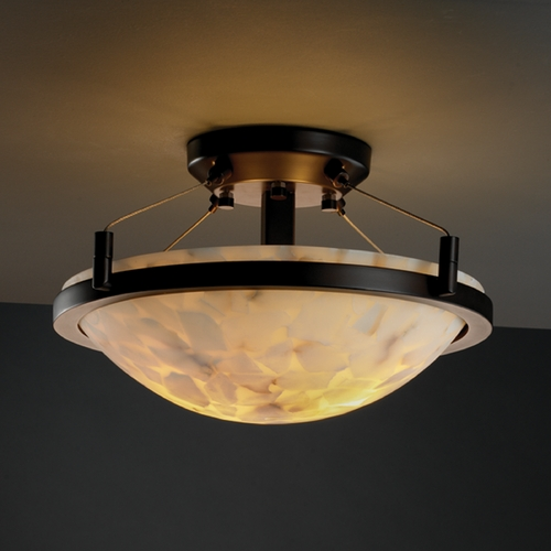 Justice Design Group Justice Design Group Alabaster Rocks! Collection Semi-Flushmount Light ALR-9680-35-DBRZ