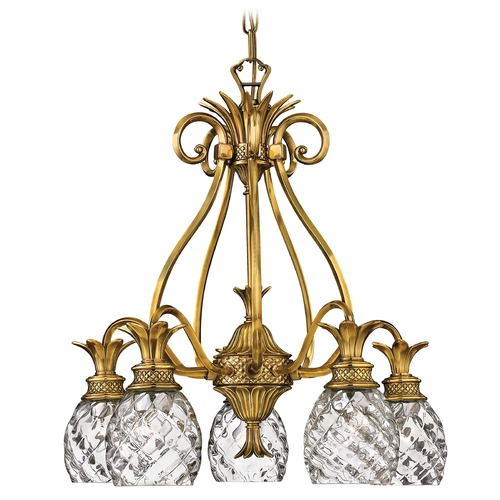Hinkley 5-Light Burnished Brass Pineapple Chandelier with Clear Glass 4885BB