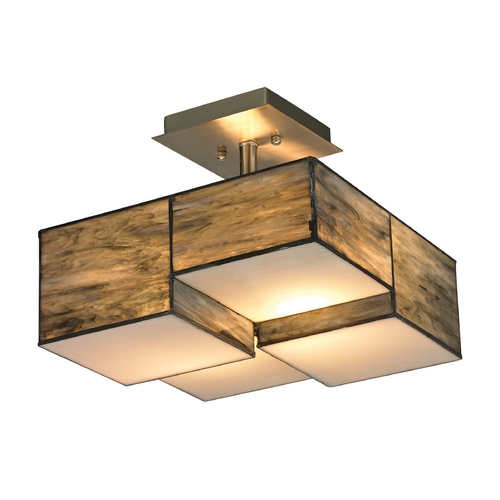 Elk Lighting Modern Semi-Flushmount Light with Brown Glass in Brushed Nickel Finish 72071-2