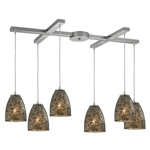 Elk Lighting Elk Lighting Fissure Satin Nickel Multi-Light Pendant with Bowl / Dome Shade 10465/6BRF