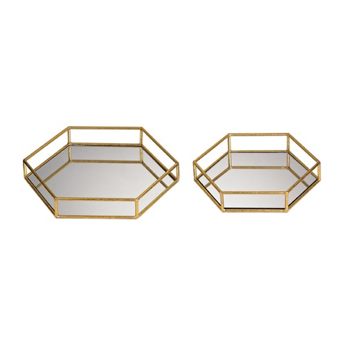Sterling Lighting Set of 2 Mirrored Hexagonal Trays 51-024/S2