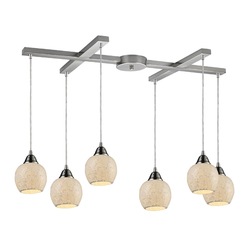 Elk Lighting Multi-Light Pendant Light with Beige / Cream Glass and 6-Lights 10208/6CLD