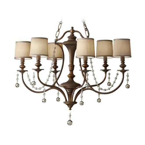 Feiss Lighting Crystal Chandelier with Brown Shades in Firenze Gold Finish F2726/6FG