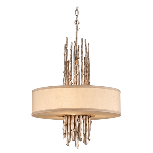 Troy Lighting Drum Pendant Light with Beige / Cream Shades in Silver Leaf Finish FF2894