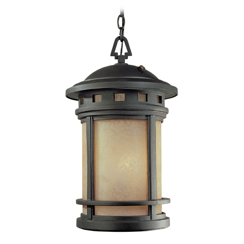 Designers Fountain Lighting Outdoor Hanging Light with Amber Glass in Oil Rubbed Bronze Finish ES2394-AM-ORB