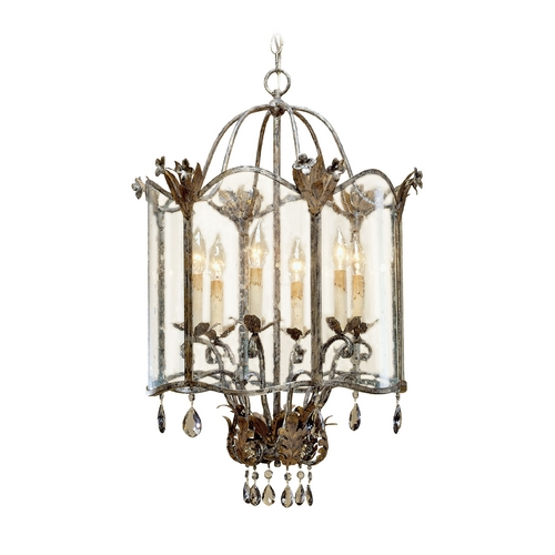 Currey and Company Lighting Mini-Chandelier with Clear Glass in Viejo Gold/silver Finish 9388