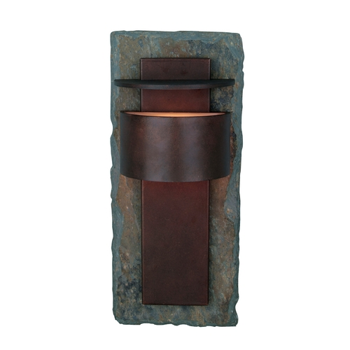 Kenroy Home Lighting Modern Outdoor Wall Light in Natural Slate with Copper Finish 70286SL