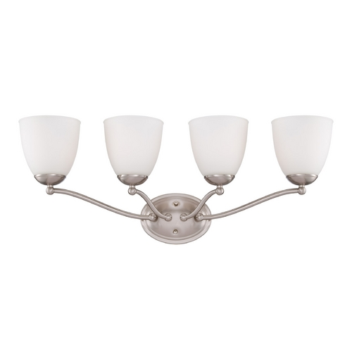 Nuvo Lighting Bathroom Light with White Glass in Brushed Nickel Finish 60/5054