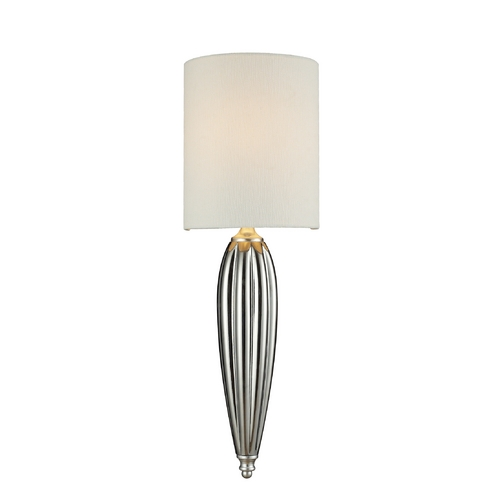 Elk Lighting LED Sconce Wall Light with White Shade in Silver Leaf Finish 46030/1-LED