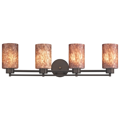 Design Classics Lighting Modern Bathroom Light with Brown Art Glass - Four Lights 704-220 GL1016C