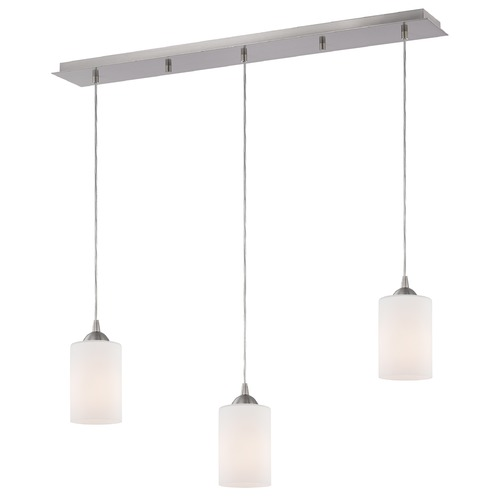 Design Classics Lighting 36-Inch Linear Pendant with 3-Lights in Satin Nickel Finish with Shiny Opal White Glass 5833-09 GL1024C