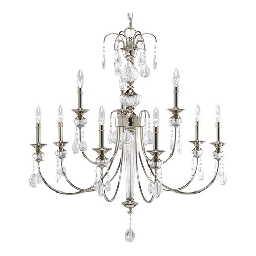 Progress Lighting Progress Crystal Chandelier with Clear Glass in Polished Nickel Finish P4210-104