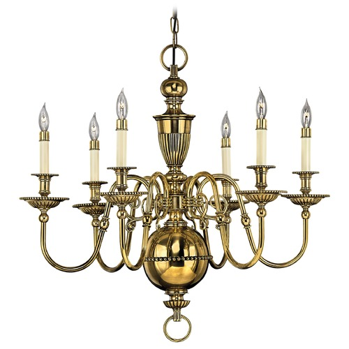 Hinkley Lighting Hinkley 6-Light Chandelier in Burnished Brass 4416BB