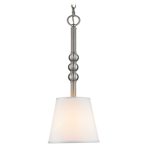 Golden Lighting Golden Lighting Waverly Pewter Mini-Pendant Light with Empire Shade 3500-M1L PW-CWH