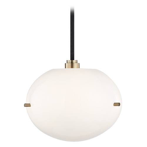 Mitzi by Hudson Valley Winnie Aged Brass LED Mini-Pendant Light Oval Shade Mitzi by Hudson Valley H102701-AGB