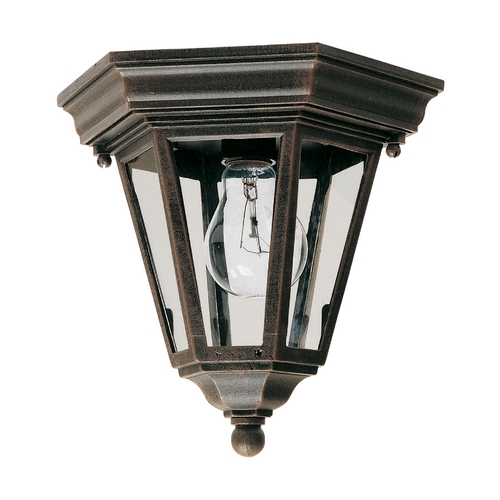 Maxim Lighting Close To Ceiling Light with Clear Glass in Rust Patina Finish 1027RP