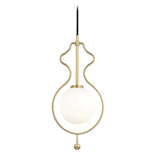Mitzi by Hudson Valley Mitzi Abigail Aged Brass LED Pendant Light with Globe Shade H248701-AGB