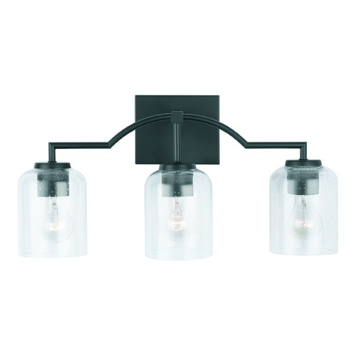 HomePlace by Capital Lighting HomePlace Carter Matte Black 3-Light Bathroom Light with Clear Seeded Glass 139331MB-500