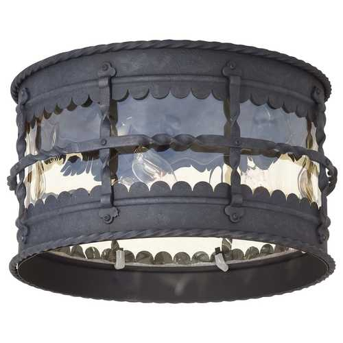 Minka Lavery Close To Ceiling Light with Beige / Cream Glass in Spanish Iron Finish 8889-A39