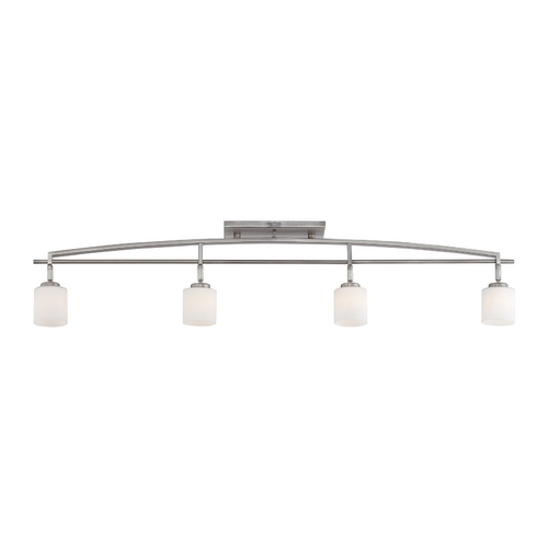 Quoizel Lighting Modern Track Light Kit with White Glass in Antique Nickel Finish TY1404AN