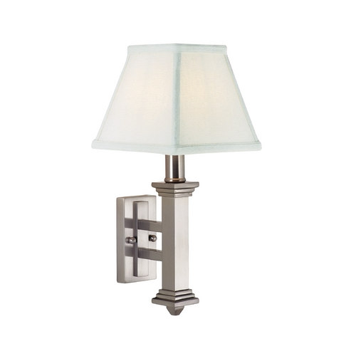 House of Troy Lighting Traditional Sconce with White Shade in Satin Nickel Finish WL609-SN